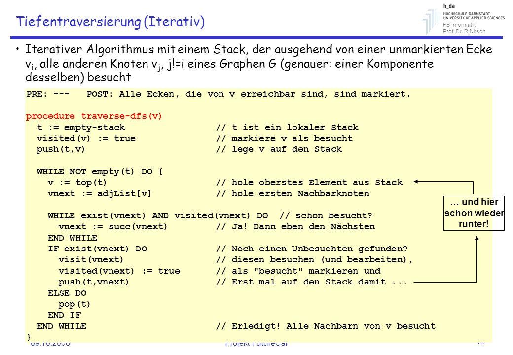 FB Informatik Prof. Dr. R.Nitsch 09.10.2008Projekt FutureCar 10 Tiefentraversierung (Iterativ) Iterativer Algorithmus mit einem Stack, der ausgehend v