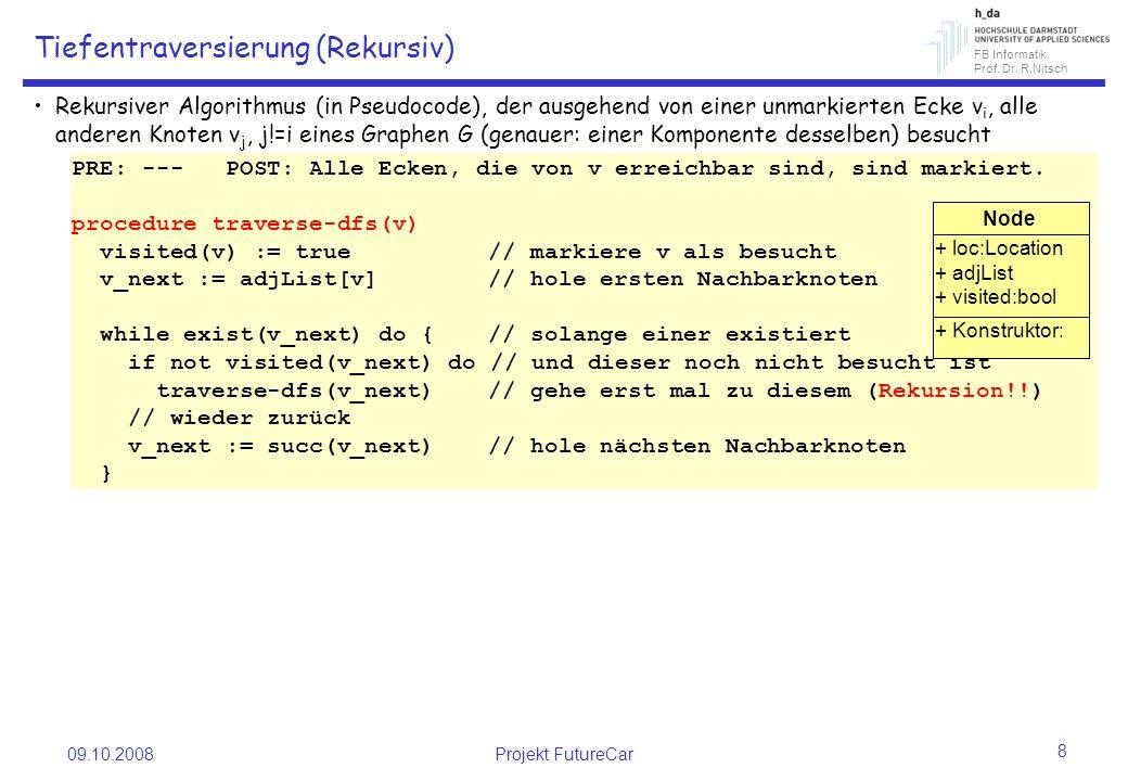 FB Informatik Prof. Dr. R.Nitsch 09.10.2008Projekt FutureCar 8 Tiefentraversierung (Rekursiv) Rekursiver Algorithmus (in Pseudocode), der ausgehend vo