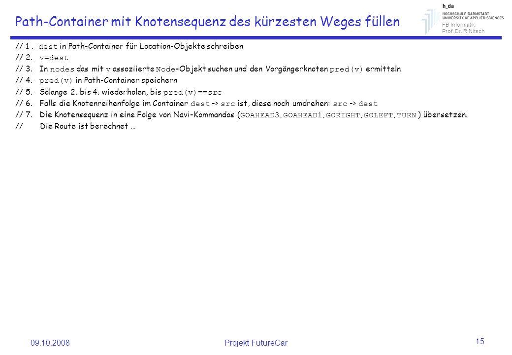 FB Informatik Prof. Dr. R.Nitsch Path-Container mit Knotensequenz des kürzesten Weges füllen // 1.