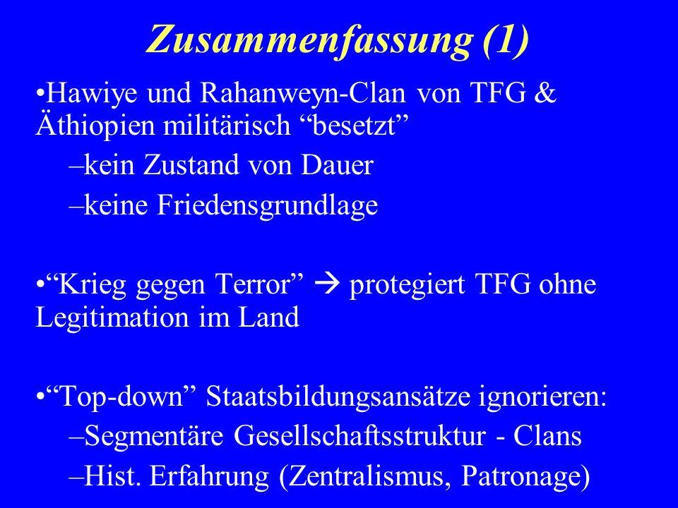 Zusammenfassung (1) Hawiye und Rahanweyn-Clan von TFG & Äthiopien militärisch besetzt –kein Zustand von Dauer –keine Friedensgrundlage Krieg gegen Ter
