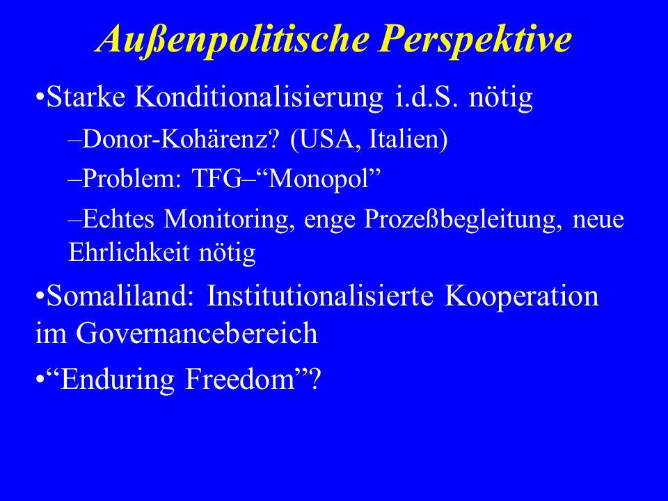 Außenpolitische Perspektive Starke Konditionalisierung i.d.S. nötig –Donor-Kohärenz? (USA, Italien) –Problem: TFG–Monopol –Echtes Monitoring, enge Pro
