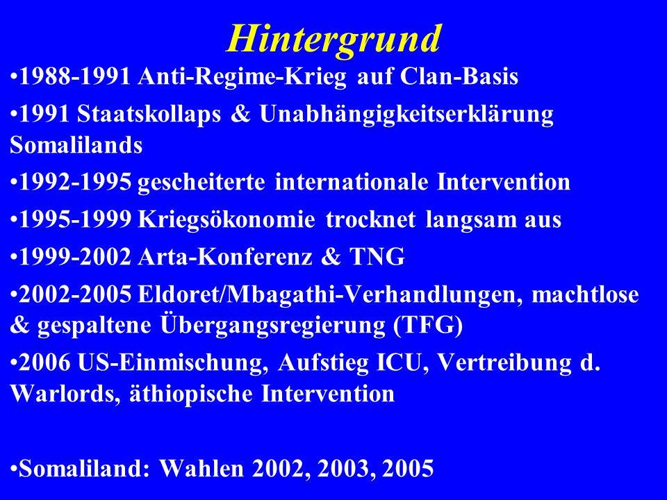 Hintergrund 1988-1991 Anti-Regime-Krieg auf Clan-Basis 1991 Staatskollaps & Unabhängigkeitserklärung Somalilands 1992-1995 gescheiterte internationale