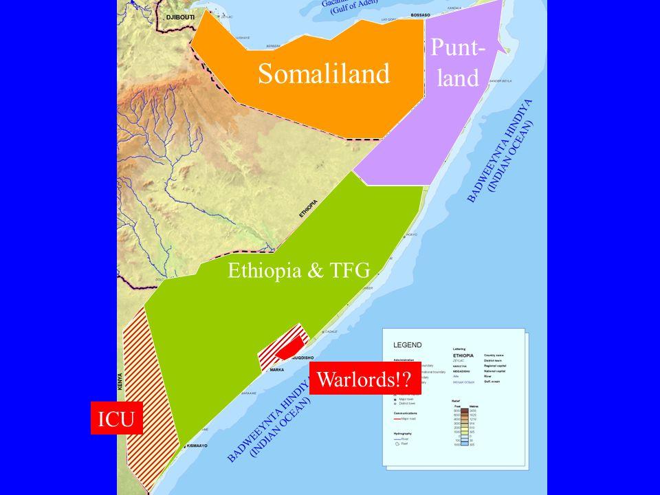 Übergangsregierung (TFG) international anerkannt Nicht inklusiv (clans, ICU, SL/PL) Auf Militär fokussiert (=Darod), keine öff.
