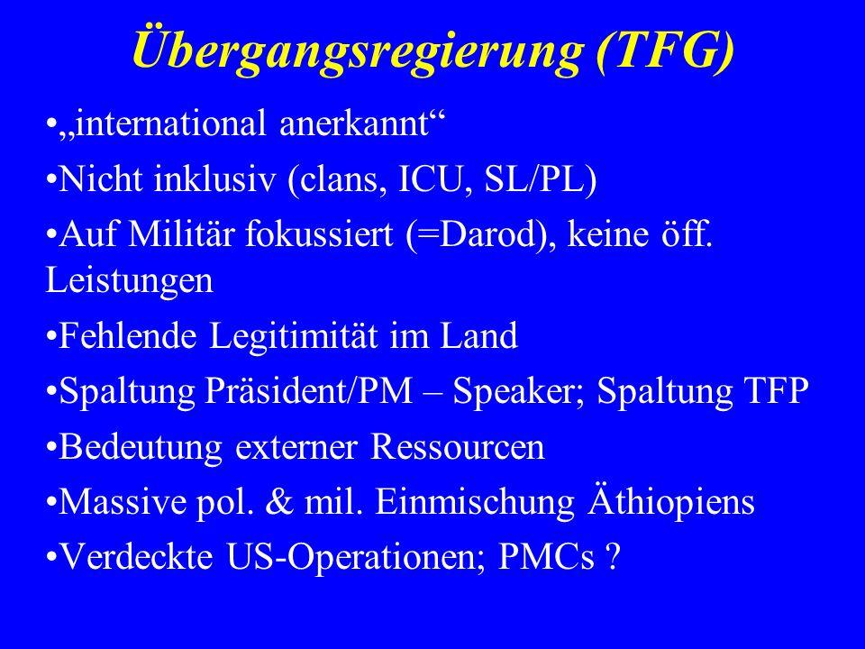 Übergangsregierung (TFG) international anerkannt Nicht inklusiv (clans, ICU, SL/PL) Auf Militär fokussiert (=Darod), keine öff. Leistungen Fehlende Le