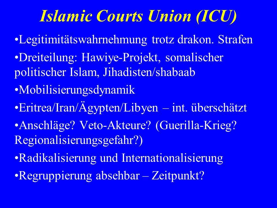 Islamic Courts Union (ICU) Legitimitätswahrnehmung trotz drakon. Strafen Dreiteilung: Hawiye-Projekt, somalischer politischer Islam, Jihadisten/shabaa
