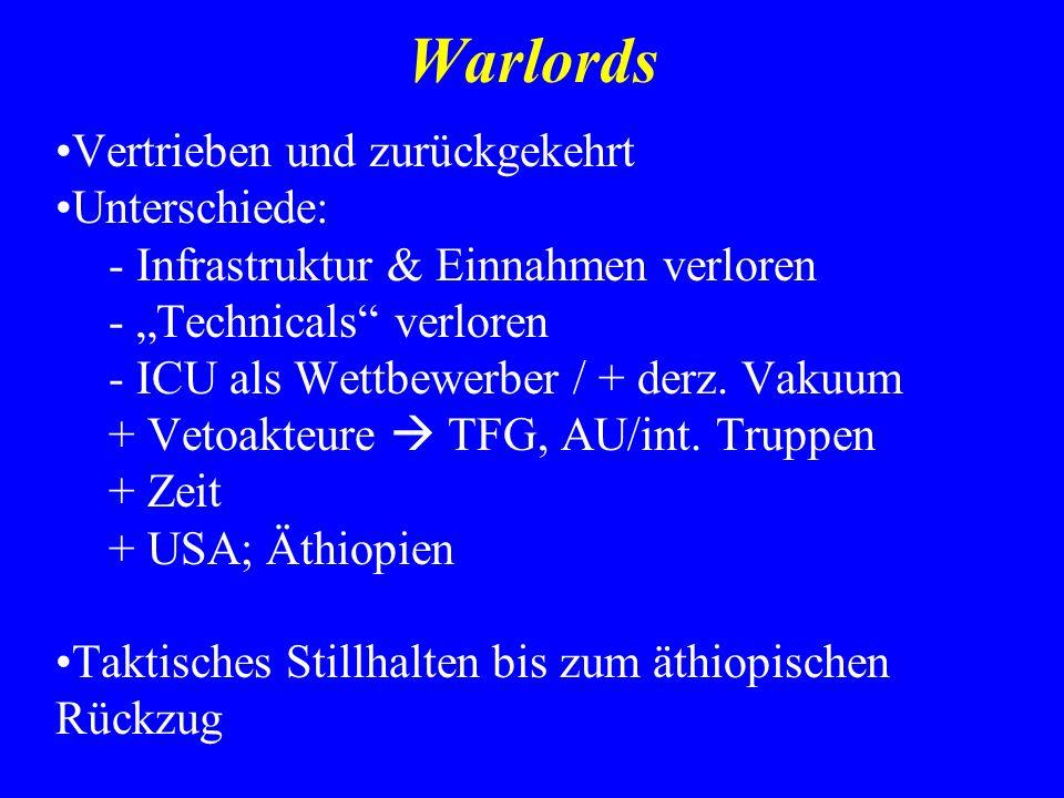Warlords Vertrieben und zurückgekehrt Unterschiede: - Infrastruktur & Einnahmen verloren - Technicals verloren - ICU als Wettbewerber / + derz. Vakuum