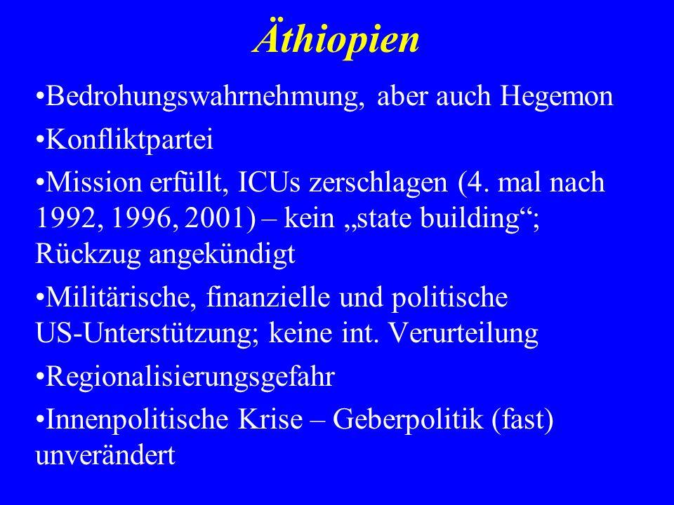 Äthiopien Bedrohungswahrnehmung, aber auch Hegemon Konfliktpartei Mission erfüllt, ICUs zerschlagen (4. mal nach 1992, 1996, 2001) – kein state buildi