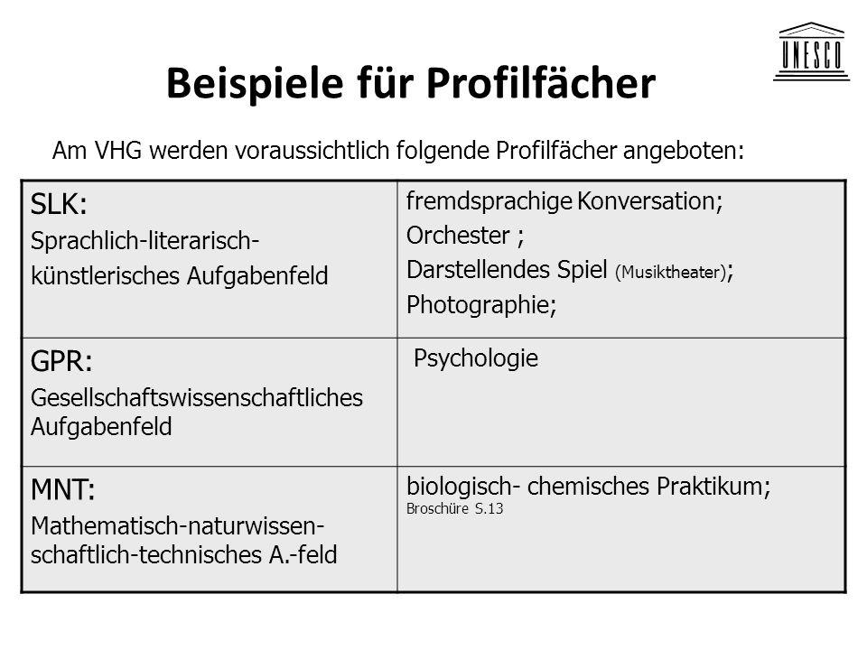 Beispiele für Profilfächer Am VHG werden voraussichtlich folgende Profilfächer angeboten: SLK: Sprachlich-literarisch- künstlerisches Aufgabenfeld fre