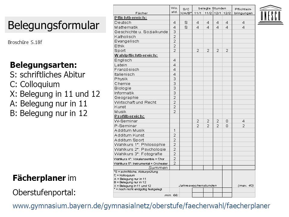 Broschüre S.18f Belegungsformular Fächerplaner im Oberstufenportal: www.gymnasium.bayern.de/gymnasialnetz/oberstufe/faecherwahl/faecherplaner Belegung
