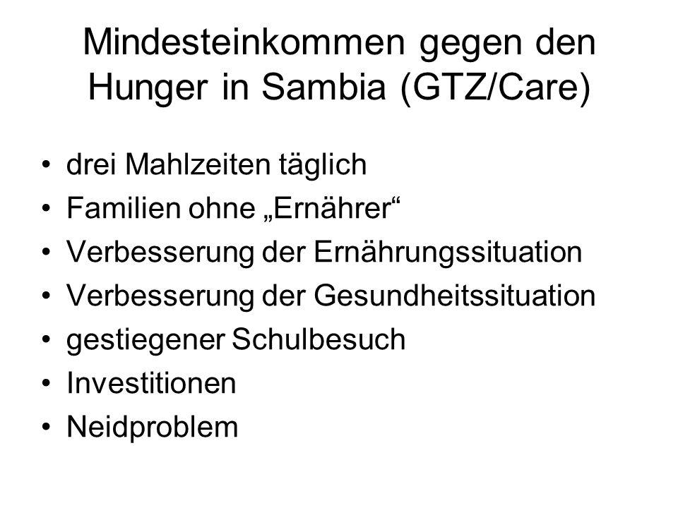 Mindesteinkommen gegen den Hunger in Sambia (GTZ/Care) drei Mahlzeiten täglich Familien ohne Ernährer Verbesserung der Ernährungssituation Verbesserung der Gesundheitssituation gestiegener Schulbesuch Investitionen Neidproblem