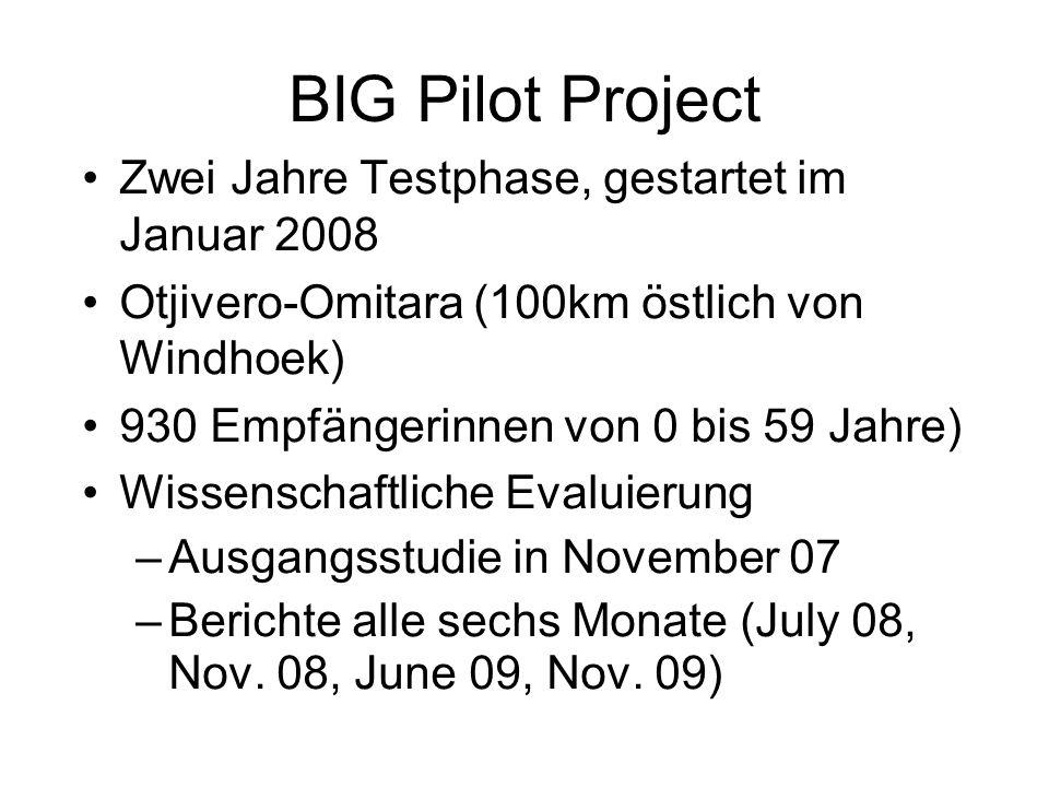 BIG Pilot Project Zwei Jahre Testphase, gestartet im Januar 2008 Otjivero-Omitara (100km östlich von Windhoek) 930 Empfängerinnen von 0 bis 59 Jahre) Wissenschaftliche Evaluierung –Ausgangsstudie in November 07 –Berichte alle sechs Monate (July 08, Nov.