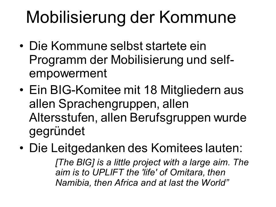 Mobilisierung der Kommune Die Kommune selbst startete ein Programm der Mobilisierung und self- empowerment Ein BIG-Komitee mit 18 Mitgliedern aus allen Sprachengruppen, allen Altersstufen, allen Berufsgruppen wurde gegründet Die Leitgedanken des Komitees lauten: [The BIG] is a little project with a large aim.