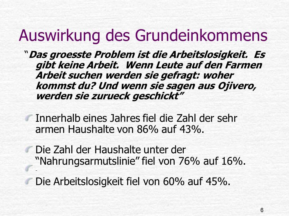 7 Auswirkung des Grundeinkommens 42% aller Kinder waren von Unterernaehrung betroffen.