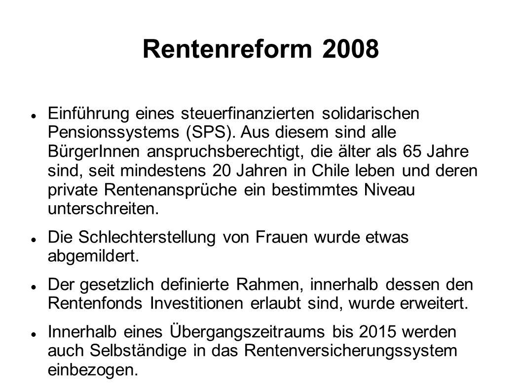 Rentenreform 2008 Einführung eines steuerfinanzierten solidarischen Pensionssystems (SPS). Aus diesem sind alle BürgerInnen anspruchsberechtigt, die ä