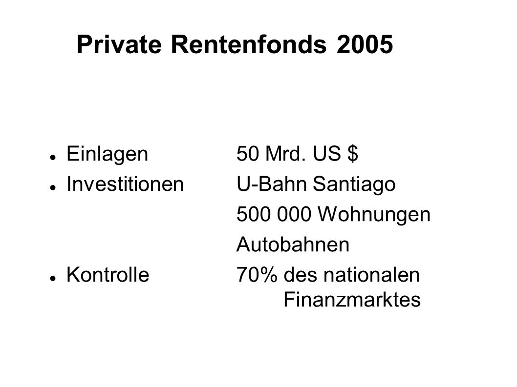 Private Rentenfonds 2005 Einlagen50 Mrd. US $ InvestitionenU-Bahn Santiago 500 000 Wohnungen Autobahnen Kontrolle70% des nationalen Finanzmarktes