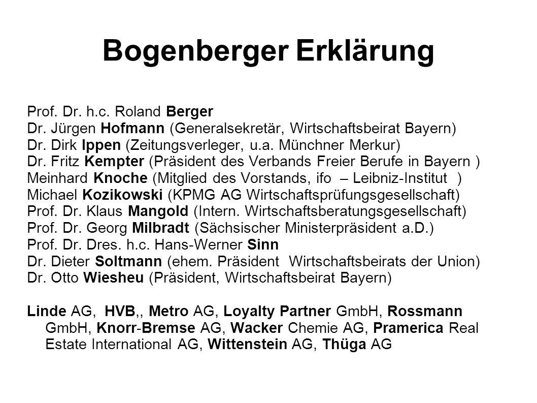 Bogenberger Erklärung Prof. Dr. h.c. Roland Berger Dr. Jürgen Hofmann (Generalsekretär, Wirtschaftsbeirat Bayern) Dr. Dirk Ippen (Zeitungsverleger, u.