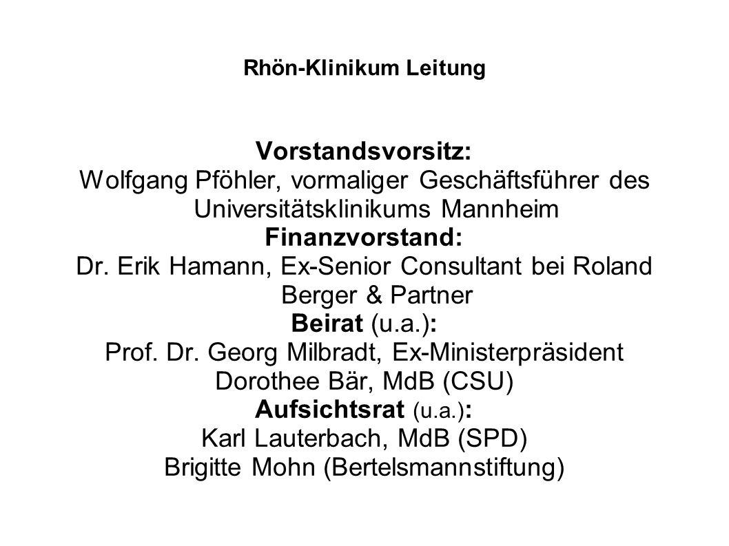 Rhön-Klinikum Leitung Vorstandsvorsitz: Wolfgang Pföhler, vormaliger Geschäftsführer des Universitätsklinikums Mannheim Finanzvorstand: Dr.