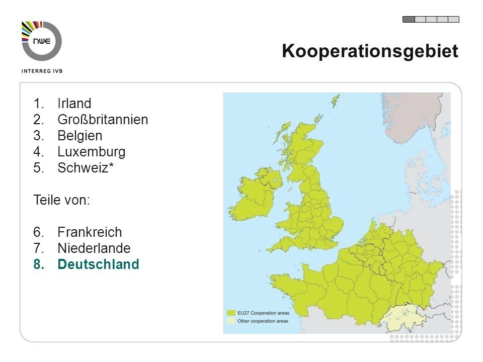 1.Irland 2.Großbritannien 3.Belgien 4.Luxemburg 5.Schweiz* Teile von: 6.Frankreich 7.Niederlande 8.Deutschland Kooperationsgebiet