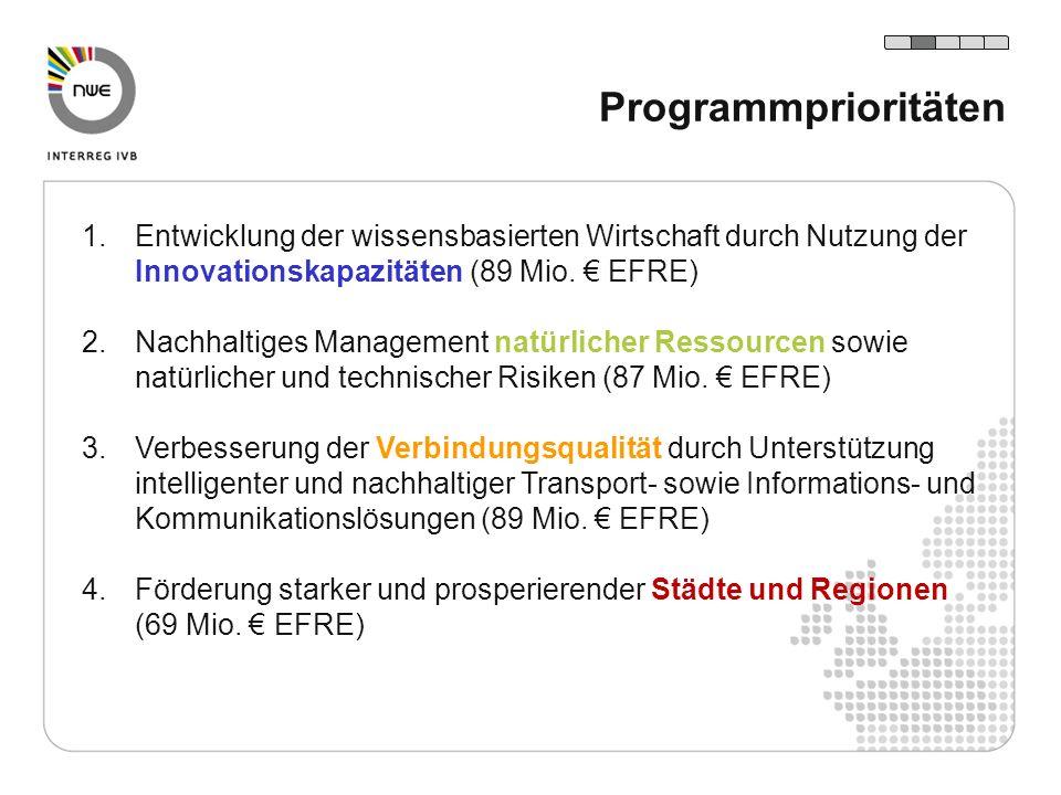 1.Entwicklung der wissensbasierten Wirtschaft durch Nutzung der Innovationskapazitäten (89 Mio. EFRE) 2.Nachhaltiges Management natürlicher Ressourcen