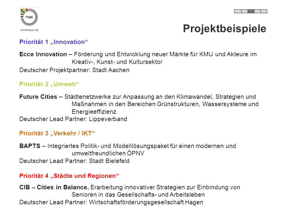 Priorität 1 Innovation Ecce Innovation – Förderung und Entwicklung neuer Märkte für KMU und Akteure im Kreativ-, Kunst- und Kultursektor Deutscher Pro