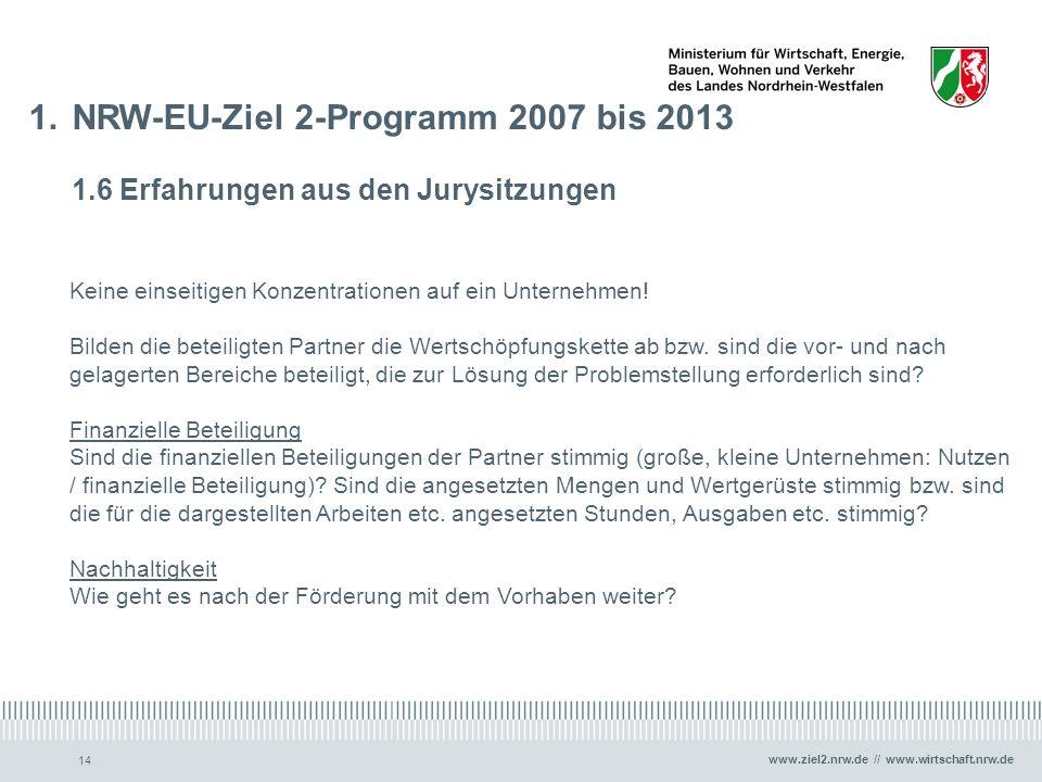 www.ziel2.nrw.de // www.wirtschaft.nrw.de 14 1.NRW-EU-Ziel 2-Programm 2007 bis 2013 1.6 Erfahrungen aus den Jurysitzungen Keine einseitigen Konzentrat