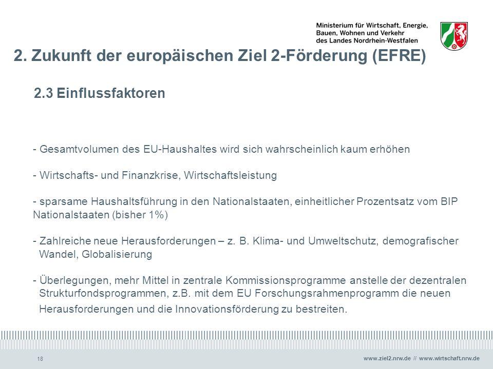 www.ziel2.nrw.de // www.wirtschaft.nrw.de 18 2. Zukunft der europäischen Ziel 2-Förderung (EFRE) 2.3 Einflussfaktoren - Gesamtvolumen des EU-Haushalte