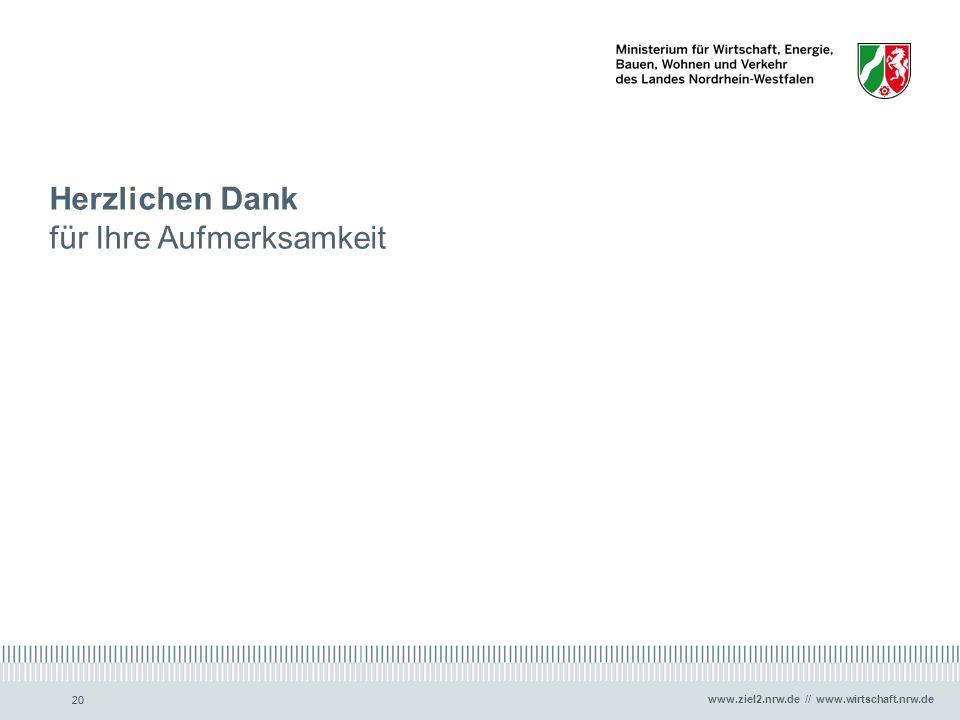 www.ziel2.nrw.de // www.wirtschaft.nrw.de 20 Herzlichen Dank für Ihre Aufmerksamkeit