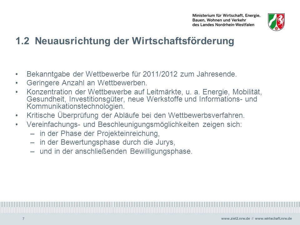 www.ziel2.nrw.de // www.wirtschaft.nrw.de 77 1.2 Neuausrichtung der Wirtschaftsförderung Bekanntgabe der Wettbewerbe für 2011/2012 zum Jahresende. Ger