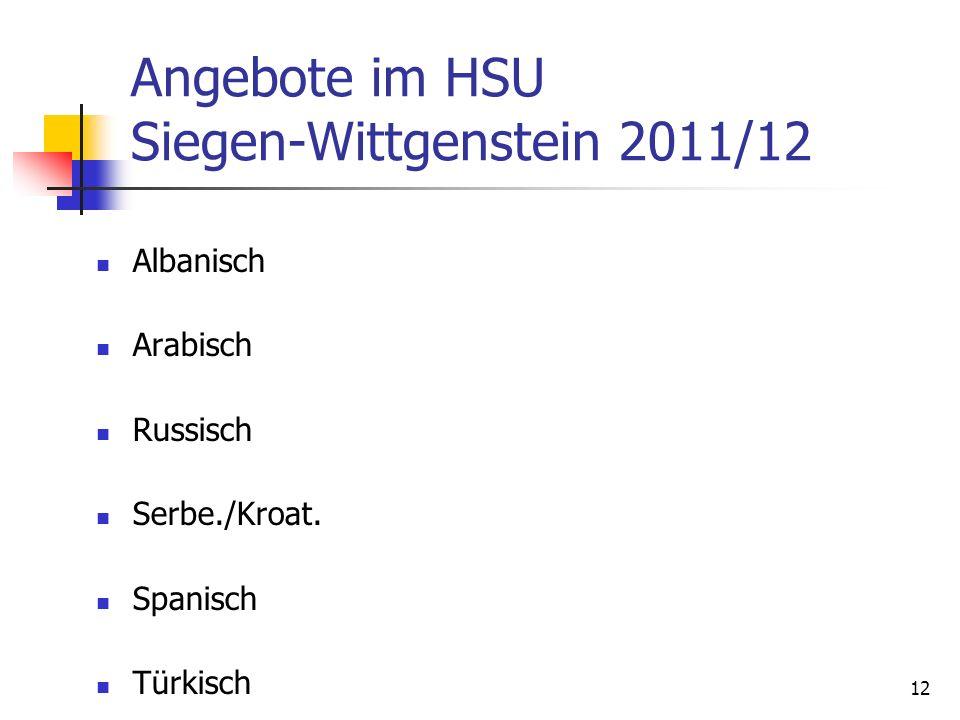 12 Angebote im HSU Siegen-Wittgenstein 2011/12 Albanisch Arabisch Russisch Serbe./Kroat. Spanisch Türkisch