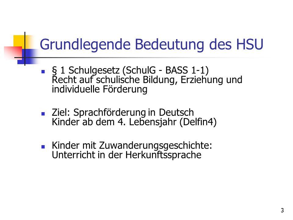 3 Grundlegende Bedeutung des HSU § 1 Schulgesetz (SchulG - BASS 1-1) Recht auf schulische Bildung, Erziehung und individuelle Förderung Ziel: Sprachfö