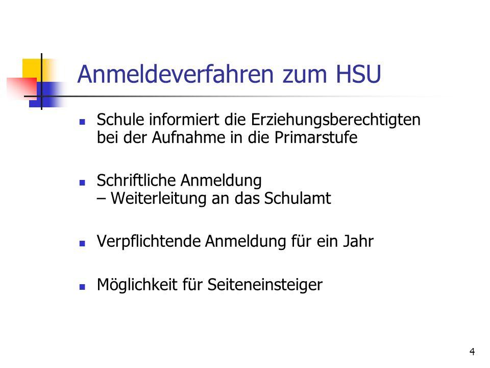 4 Anmeldeverfahren zum HSU Schule informiert die Erziehungsberechtigten bei der Aufnahme in die Primarstufe Schriftliche Anmeldung – Weiterleitung an