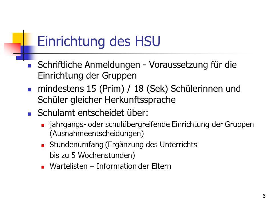 6 Einrichtung des HSU Schriftliche Anmeldungen - Voraussetzung für die Einrichtung der Gruppen mindestens 15 (Prim) / 18 (Sek) Schülerinnen und Schüle
