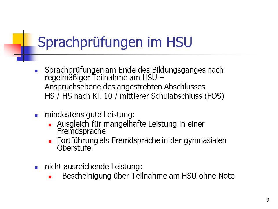 9 Sprachprüfungen im HSU Sprachprüfungen am Ende des Bildungsganges nach regelmäßiger Teilnahme am HSU – Anspruchsebene des angestrebten Abschlusses H