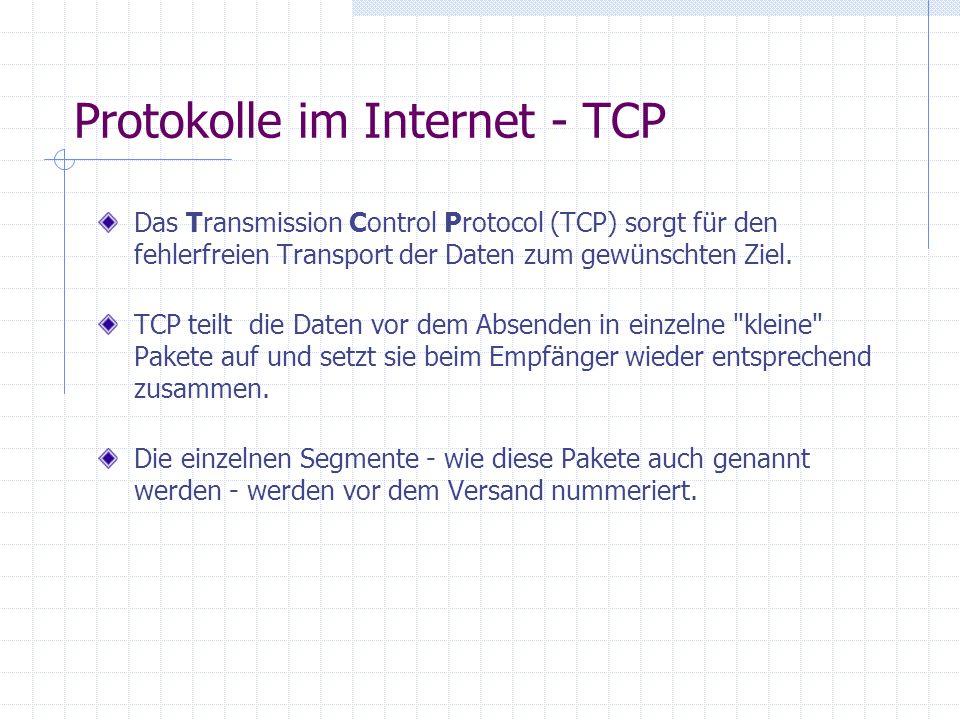 Protokolle im Internet - PPP und SLIP Das Point to Point Protocol (PPP) und das Serial Line Internet Protocol (SLIP) sorgen für die Regelung und Überw