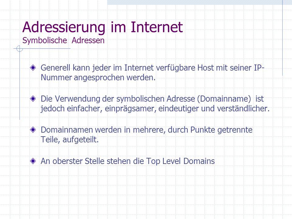 Adressierung im Internet Numerische Adressen Jeder Host im Internet benötigt eine eigene Internet Protocol Adresse (IP-Adresse oder IP-Nummer). Eine I