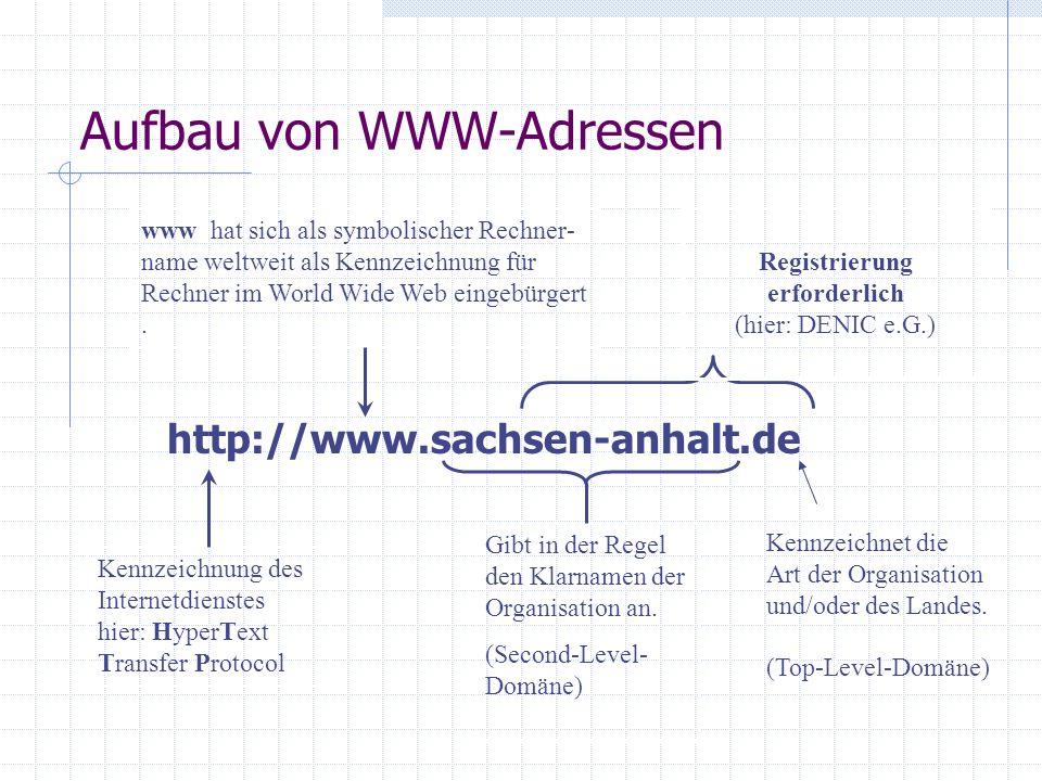 Adressierung im Internet Symbolische Adressen Generell kann jeder im Internet verfügbare Host mit seiner IP- Nummer angesprochen werden. Die Verwendun