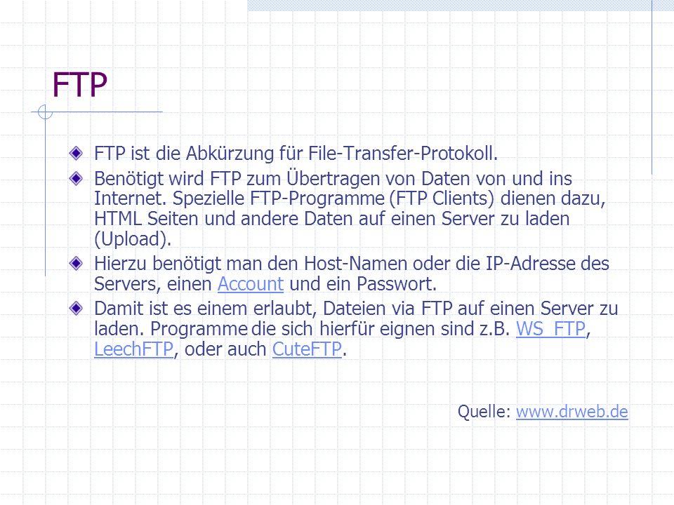 FTP Ein FTP-Programm braucht jeder Webmaster. PSFtp arbeitet mit der bekannten Baumstruktur-Ansicht Per Mausklick lässt sich das Kontextmenü auf den S