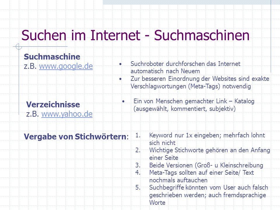 Suchen im Internet - Art der Suche Meta-Suchmaschinen Eine besondere Form der Schlagwortsuche ist die Suche über Meta-Suchmaschinen. Diese Suchmaschin