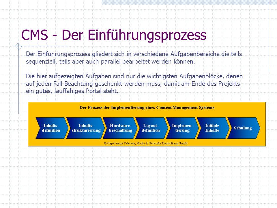 CMS - Aufgaben Aus den dargestellten Prozess-Schritten ergeben sich die Aufgaben, die bei der Implementierung eines CMS anfallen. Jede der Aufgaben ko