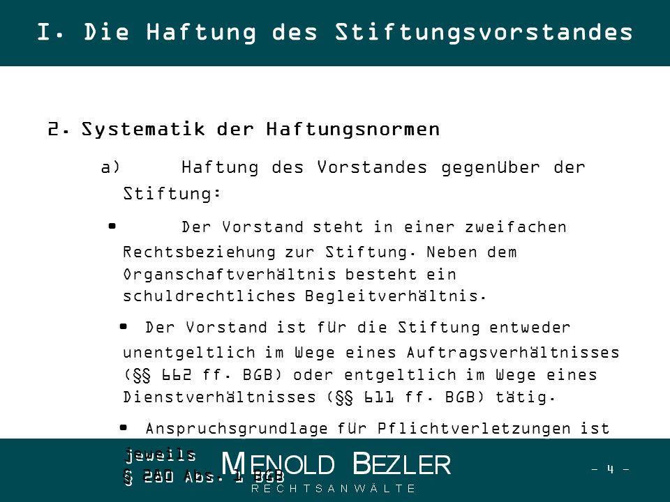 - 15 - Vorsatz und Fahrlässigkeit (§ 276 BGB), aber § 31a Abs.