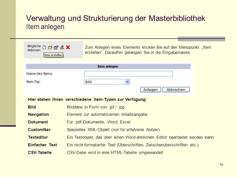 14 Verwaltung und Strukturierung der Masterbibliothek Item anlegen Zum Anlegen eines Elements klicken Sie auf den Menüpunkt Item erstellen.
