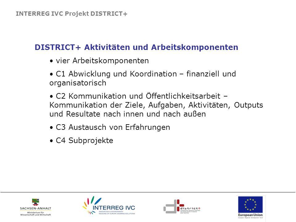 INTERREG IVC Projekt DISTRICT+ DISTRICT+ Aktivitäten und Arbeitskomponenten vier Arbeitskomponenten C1 Abwicklung und Koordination – finanziell und or