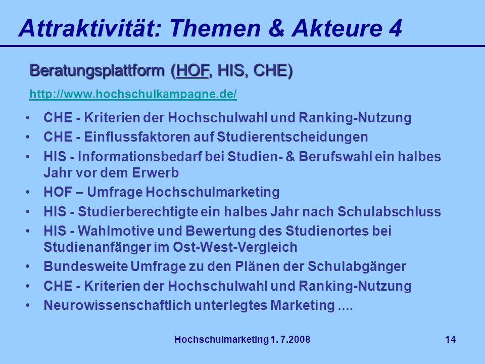 Hochschulmarketing 1. 7.200814 Attraktivität: Themen & Akteure 4 Beratungsplattform (HOF, HIS, CHE) Beratungsplattform (HOF, HIS, CHE) http://www.hoch