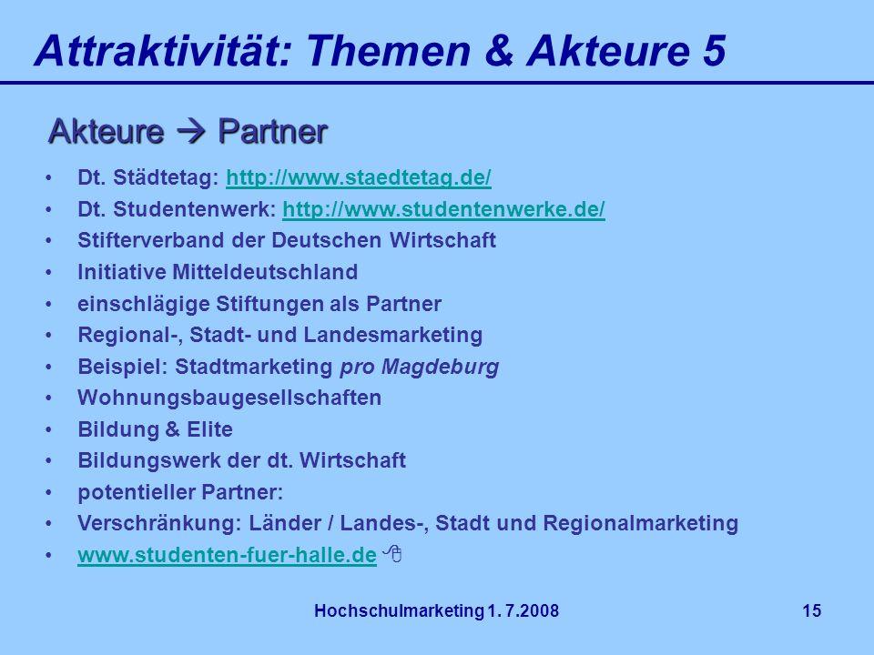 Hochschulmarketing 1. 7.200815 Attraktivität: Themen & Akteure 5 Akteure Partner Dt. Städtetag: http://www.staedtetag.de/http://www.staedtetag.de/ Dt.