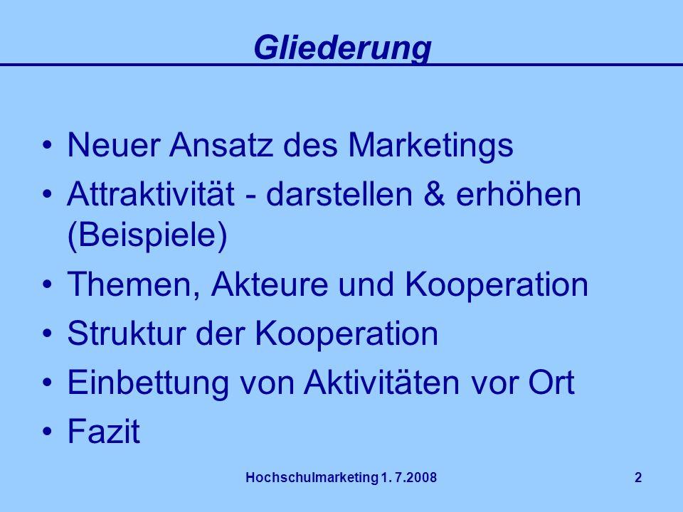 Hochschulmarketing 1. 7.20082 Gliederung Neuer Ansatz des Marketings Attraktivität - darstellen & erhöhen (Beispiele) Themen, Akteure und Kooperation