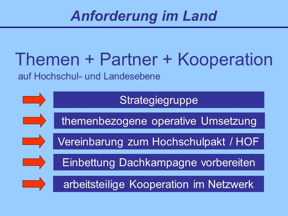 Themen + Partner + Kooperation Strategiegruppe Anforderung im Land themenbezogene operative Umsetzung auf Hochschul- und Landesebene Vereinbarung zum