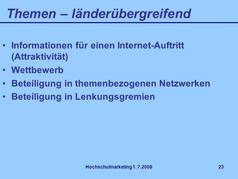 Hochschulmarketing 1. 7.200823 Informationen für einen Internet-Auftritt (Attraktivität) Wettbewerb Beteiligung in themenbezogenen Netzwerken Beteilig