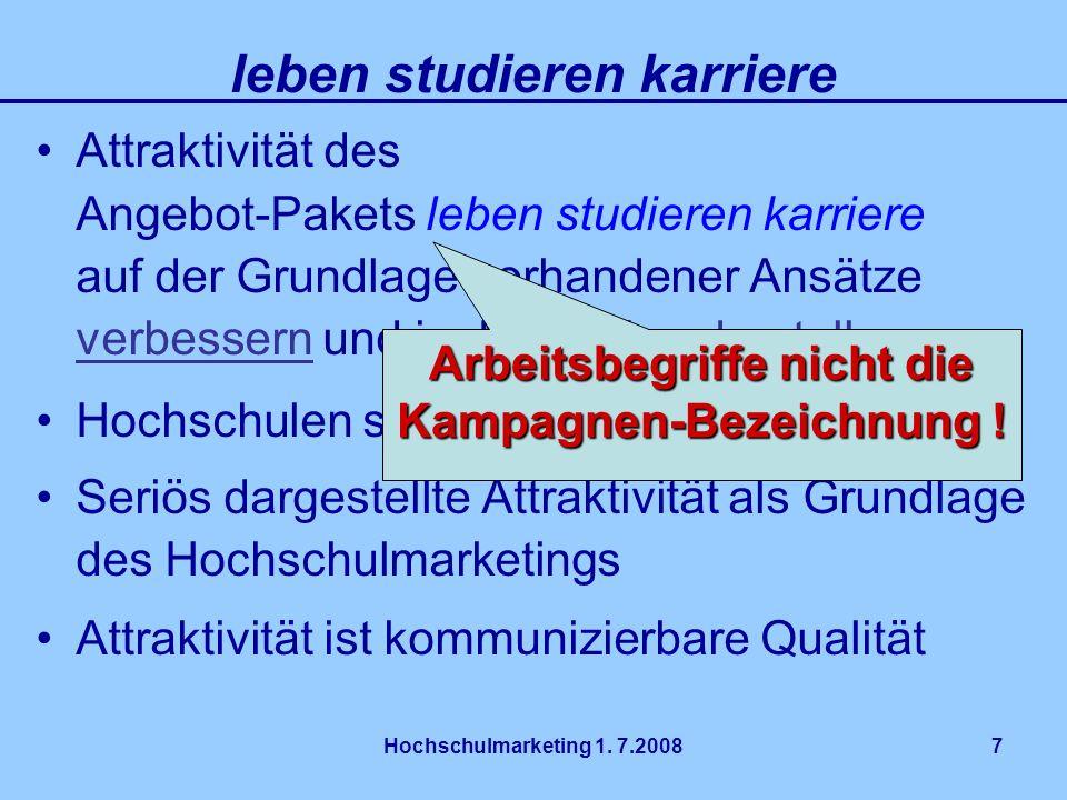 Hochschulmarketing 1.7.200818 Fazit 7 Hochschulen in ST insges.