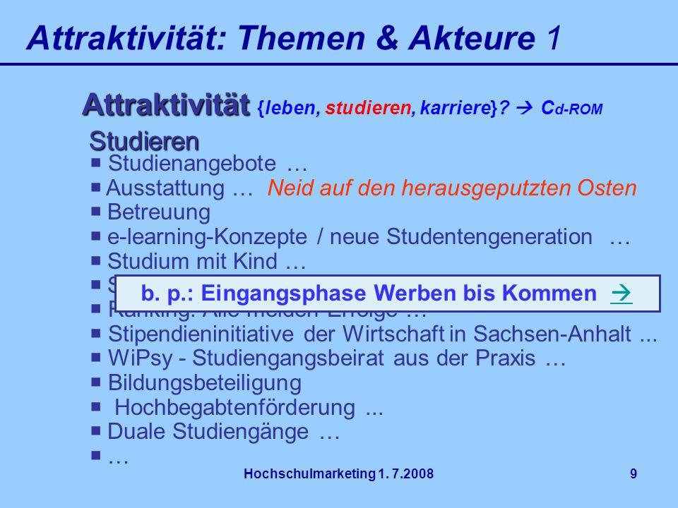 Hochschulmarketing 1. 7.20089 Attraktivität: Themen & Akteure 1 Attraktivität Attraktivität {leben, studieren, karriere}? C d-ROM Studienangebote … Au