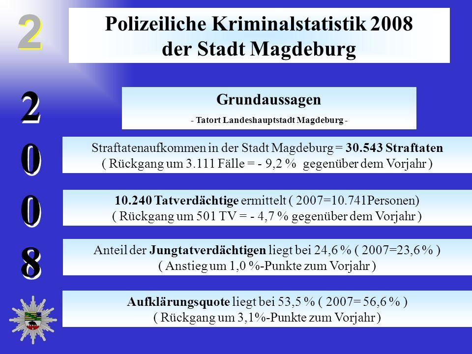 20082008 20082008 Polizeiliche Kriminalstatistik 2008 der Stadt Magdeburg Straftatenaufkommen in der Stadt Magdeburg = 30.543 Straftaten ( Rückgang um